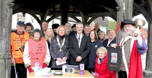 Wymondham Town Mayor, with representatives of the Lions and Rotary Clubs at Wymondham Market Cross